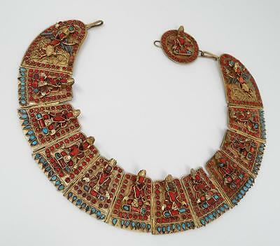 RARE ANTIQUE TIBETAN Buddha Turquoise & Coral Brass Collar BIB Necklace MASSIVE