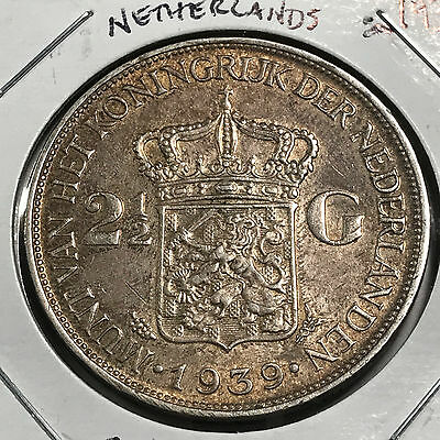 1939 Netherlands 2 1/2 Guldens Silver Crown Higher Grade  Beauty