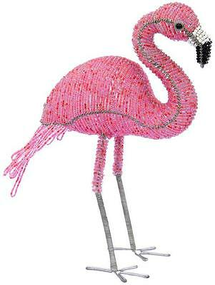 Tropical Standing Pink Flamingo Beaded Wire Sculpture SS1