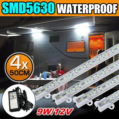 4X12V Waterproof Cool White 5630 Led Strip Lights Bars + SAA Power Plug