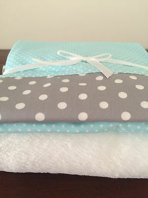 Baby Bassinet Bedding 3 piece set in grey Polka Dots, Aqua and white