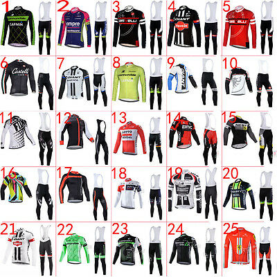 Spring&Autumn Fit,New Bicycle racing suit long sleeve cycling jersey+Bib pants