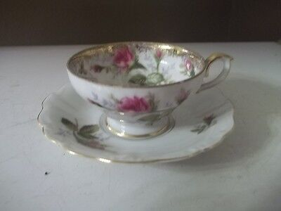 Vintage Royal Sealy  Japan-Roses Fine China Tea Cup and Saucer