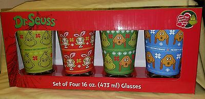 NEW IN BOX Dr. Suess The Grinch Set Of 4 Christmas GLASSES Cups Argyle Sweater
