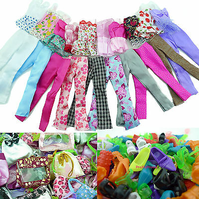 20pcs= 5 Blouse 5 Trousers Bottoms 5 Bags 5 Shoes Outfit Clothes For Barbie Doll