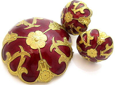 Antique Victorian Art Nouveau Deep Red Enamel Domed Floral Brooch & Earring*A454