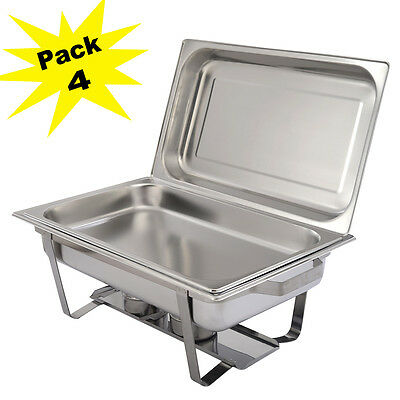 Pack Of 4 Chafing Dish Sets Stainless Steel Food Pans Fuel  9L Serving Dishes