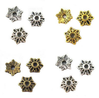 80Pcs Retro Antique Metal Alloy Flower Bead Caps 8mm For Jewelry Making