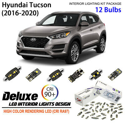 9pcs Xenon White LED Interior Light Kit For Hyundai Tucson 2016-2017 (No Sunroof