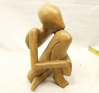 "Vtg Hand Carved Wood Statue Thinking Man Abstract Figurine Figure Bali 8"" Tall"