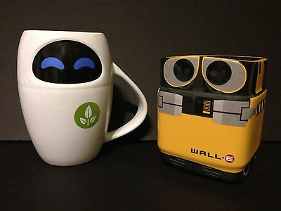 2013 Wall-E & Eve Robot Coffee Cup Ceramic Mug Set Disney Store Sold Out Htf