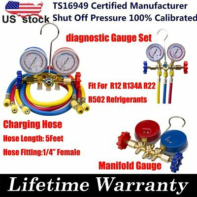 New R12 R22 R134A R502 HVAC A/C Refrigeration Charging Kit Manifold Gauge Set
