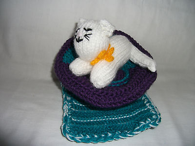 Hand-knitted Cat on a Chair Soft Toy Ref 966