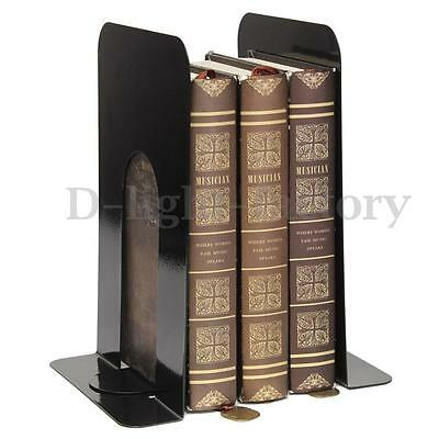 1Pair Black Home Office Stationery Supplies Metal Heavy Duty Bookends Book Ends