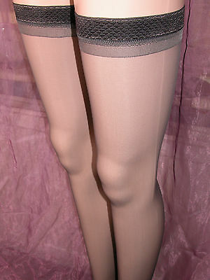 12 Sheer Gloss Hold Up Stockings Barely Black With Glossy Tops Np