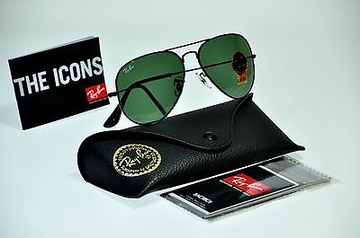 NEW Authentic Ray Ban RB3025 L2823 58mm AVIATOR Black Frame / Green G-15 lenses