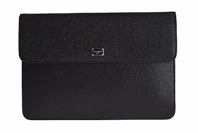 NWT $460 DOLCE & GABBANA Unisex Black Leather Bag Tablet Case P Mini Cover Pouch