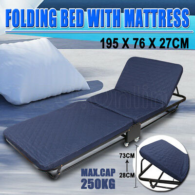 Guest Folding Bed Portable Single Mattress Camping Outdoor Indoor Wheel Foldable