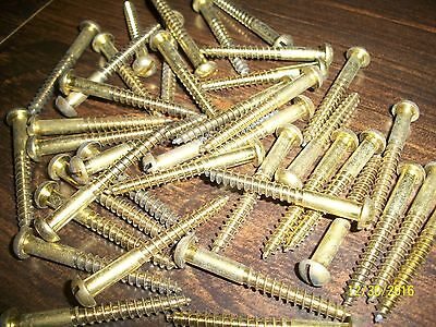 "40, Old ""brass""  2"" Long, Slotted Round-Head Wood Screws"