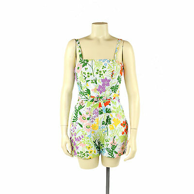 Vintage 50s 60s Sea Weeds Cotton Floral Bathing Suit Swimsuit Play Sun Romper S