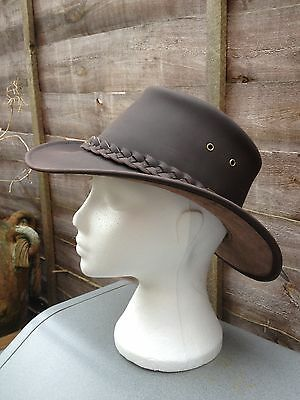 Australian Style Leather Aussie  Bush Hat Tags Black Or Brown Must For Festivals