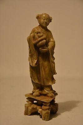 Antique Chinese soapstone Guanyin carved figure