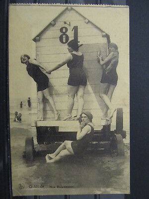 3745 Postcard Belgium Ostende Nos Baigneuses Swimmers used