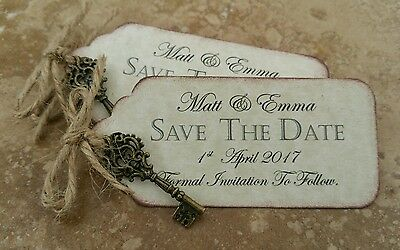 SAVE THE DATE CARDS / with key charm & magnet /Rustic , Vintage. x 45