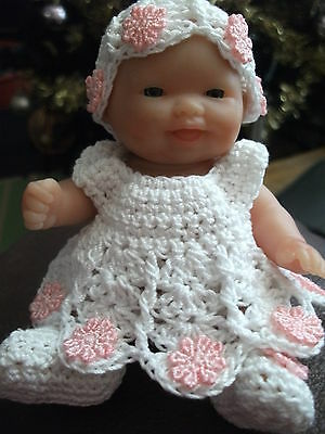 HAND CROCHETED/ DOLLS CLOTHES 'DAISY' DRESS SET for 5 INCH BERENGUER DOLL OOAK