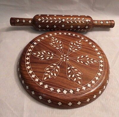 Kitchen Decor Wooden Chakla Belan Rolling Pin & Board Roti Chapati Maker 9""