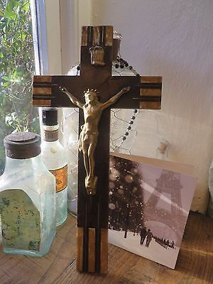 Beautiful Vintage French Time Worn Wooden  Art Deco Crucifix / Cross ~