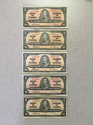 5 Pieces Series 1937 Bank Of Canada Two Dollar Bills