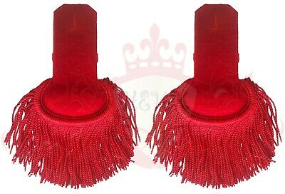 Red Silk Shoulder Epaulettes Fringe Marching Band Epaulette WIth Button Hole