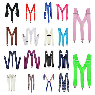 Mens Braces 35mm Wide Strong Metal Clip Adjustable Elastic Suspenders- 9 Colours