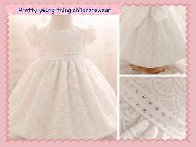 Beautiful baby girls white christening/party dresses. 3-18 months UK seller