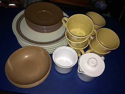 Vintage 28 Piece Set of Texas Ware in Brown White and Tan
