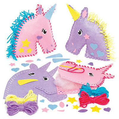 Felt Unicorn Cushion Sewing Crafts Kits for Children to Decorate (Pack of 2)