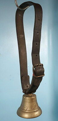 Antique Swiss Bronze Cow Bell Leather Strap Swiss Flag E Floral Motif Relief