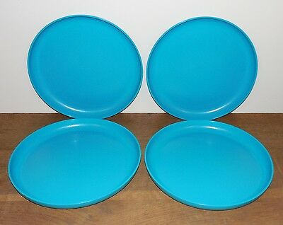 "Tupperware PARTY PLATES Set of 4 NO SPILLS Round 9.5"" RAISED EDGE Deep Turquoise"
