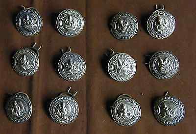 6 pairs of large antique silver metal Indian buttons - Hindu Gods Wedding
