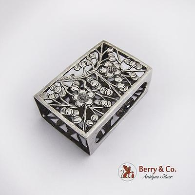 Vintage Cherry Blossom Large Match Box Cover Chinese Export Silver 1900