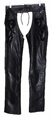 Highway One Black Leather w/ Abstract Suede Design Womens Motorcycle Chaps Sz S