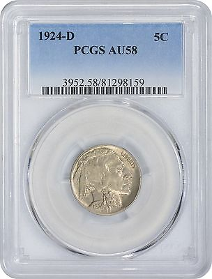 1924-D Buffalo Nickel AU58 PCGS Almost Uncirculated 58
