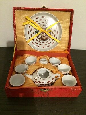 Chinese Miniature Dragon Design Tea Set in Red Display Case - NEW
