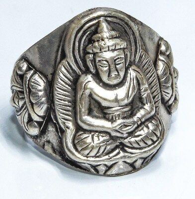 Traditional Sterling Silver Asian Vintage Style Lord Buddha Ring Size M Gift