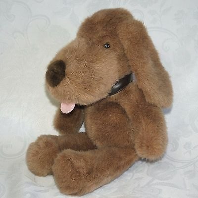 "Applause BROWN PUPPY DOG Pink Tongue Hanging Out 12"" Collar Plush Stuffed Vtg"