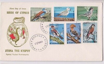 Stamps Cyprus 1969 bird set of 6 on cachet first day cover, popular thematic