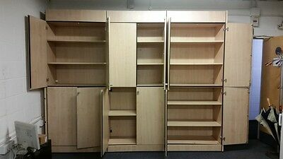 Large Tall Wall Wooden 12 Doors Office Storage Cupboard