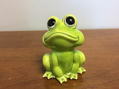Vintage Hand Decorated Green Frog Figurine Toad