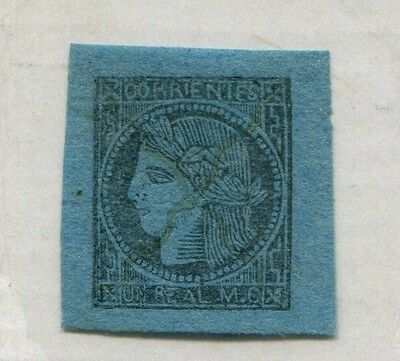ARGENTINA CORRIENTES 1856 THE FIRST STAMP OILY PRINT VARIETY 1 c  U$ 80  # 39485